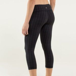 Lululemon Gray Wunder Under Ziggy Zig Zag Crop